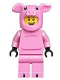 Minifig No: hol137  Name: Dragon Dance Performer, Pig Costume, No Tail, Open Mouth Smile with White Teeth and Red Tongue