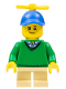 Minifig No: hol163  Name: Boy - Freckles, Green Sweater, Tan Short Legs, Blue Cap with Tiny Yellow Propeller
