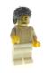 Minifig No: hol166  Name: Snowmobile Driver - Male, Tan Knit Sweater, White Legs, Dark Bluish Gray Hair