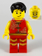 Minifig No: hol178  Name: Man, Lion Dance, Red Shirt, Red Legs with Gold Fringe