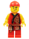 Minifig No: hol181  Name: Lion Dance Musician, Red Head Wrap, Lopsided Grin, Raised Eyebrow, Red Robe with Gold Dragon