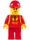 Minifig No: hol183  Name: Food Vendor, Red Cap and Apron, Bright Light Orange Logogram '烧烤' (Barbecue)