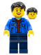 Minifig No: hol184  Name: Man, Black Hair, Blue Jacket, Dark Red Shirt, Dark Blue Legs