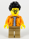 Minifig No: hol185  Name: Man, Black Spiky Hair, Glasses, Orange Jacket, Sand Blue Shirt, Dark Tan Legs