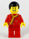 Minifig No: hol186  Name: Toy Vendor, Black Hair, Red Changshan with Bright Light Orange Wide Hem, Gold Circle Patterns