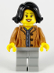 Minifig No: hol188  Name: Woman, Black Hair, Medium Nougat Jacket, Dark Bluish Gray Shirt, Light Bluish Gray Legs