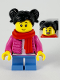 Minifig No: hol189  Name: Child Girl, Black Hair, Red Scarf, Dark Pink Puffy Jacket, White Shirt, Medium Blue Short Legs