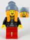 Minifig No: hol191  Name: Woman, Sand Blue Stocking Cap, Orange Ponytails, Black Jacket, Striped Shirt, Red Legs