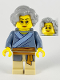 Minifig No: hol192  Name: Porcelain Vendor, Female, Light Bluish Gray Hair, Glasses, Sand Blue Tunic, Medium Nougat Sash, Tan Legs