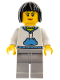Minifig No: hol193  Name: Woman, Black Hair, White Hoodie with Medium Blue Pouch and Hood, Light Bluish Gray Legs