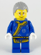 Minifig No: hol195  Name: Shadow Puppeteer, Light Bluish Gray Hair, Glasses, Blue Changshan with Yellow Hem and Sash, Silver Circle Patterns