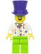 Minifig No: hol197  Name: Birthday Party Guest, Dark Purple Top Hat, Green Glasses, White Shirt, Lime Legs