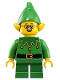 Minifig No: hol205  Name: Elf - Green Scalloped Collar with Bells, Glasses