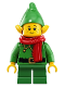 Minifig No: hol206  Name: Elf - Green Scalloped Collar with Bells, Scarf