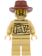 Minifig No: hol208  Name: Tractor Driver - Tan Mummy Costume, Reddish Brown Fedora Hat