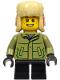 Minifig No: hol214  Name: Boy - Olive Green Winter Jacket, Black Short Legs, Ushanka Hat