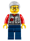 Minifig No: hol221  Name: Grandfather, Argyle Cardigan over Red Shirt, Dark Blue Legs, Light Bluish Gray Hair