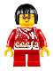 Minifig No: hol222  Name: Child Girl, Red Shirt with Bows and Flowers, Red Short Legs, Black Short Hair, Glasses