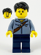 Minifig No: hol226  Name: Man, Sand Blue Jacket and Reddish Brown Satchel, Dark Blue Legs, Black Hair