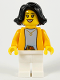 Minifig No: hol227  Name: Woman, Bright Light Orange Jacket over Light Bluish Gray Shirt, White Legs, Black Mid-Length Hair