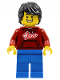 Minifig No: hol228  Name: Man, Dark Red '2021' Shirt, Blue Legs, Black Hair