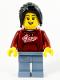 Minifig No: hol229  Name: Woman, Dark Red '2021' Shirt, Sand Blue Legs, Long Black Hair