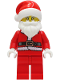 Minifig No: hol239  Name: Santa - Red Legs, Fur Lined Jacket, White Eyebrows, Glasses