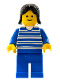 Minifig No: hor002  Name: Horizontal Lines Blue - Blue Arms - Blue Legs, Black Female Hair