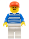 Minifig No: hor003  Name: Horizontal Lines Blue - Blue Arms - White Legs, Red Cap