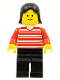 Minifig No: hor005  Name: Horizontal Lines Red - Red Arms - Black Legs, Black Female Hair