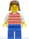 Minifig No: hor006  Name: Horizontal Lines Red - White Arms - Blue Legs, Brown Female Hair