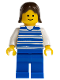 Minifig No: hor007  Name: Horizontal Lines Blue - White Arms - Blue Legs, Brown Female Hair