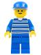 Minifig No: hor008  Name: Horizontal Lines Blue - Blue Arms - Blue Legs, Blue Cap