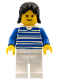 Minifig No: hor009  Name: Horizontal Lines Blue - Blue Arms - White Legs, Black Female Hair