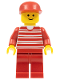 Minifig No: hor011  Name: Horizontal Lines Red - Red Arms - Red Legs, Red Cap