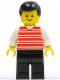Minifig No: hor012  Name: Horizontal Lines Red - White Arms - Black Legs, Black Male Hair