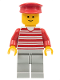 Minifig No: hor018  Name: Horizontal Lines Red - Red Arms - Light Gray Legs, Red Hat