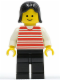 Minifig No: hor020  Name: Horizontal Lines Red - White Arms - Black Legs, Black Female Hair