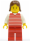 Minifig No: hor021  Name: Horizontal Lines Red - White Arms - Red Legs, Brown Female Hair