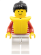 Minifig No: hor022  Name: Horizontal Lines Red - Red Arms - White Legs, Black Ponytail Hair, Life Jacket