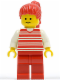 Minifig No: hor024  Name: Horizontal Lines Red - White Arms - Red Legs, Red Ponytail Hair