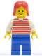 Minifig No: hor027  Name: Horizontal Lines Red - White Arms - Blue Legs, Red Female Hair