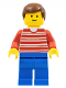 Minifig No: hor028  Name: Horizontal Lines Red - Red Arms - Blue Legs, Brown Male Hair