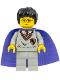 Minifig No: hp036  Name: Harry Potter, Gryffindor Shield Torso, Light Gray Legs, Violet Cape