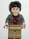 Minifig No: hp041  Name: Harry Potter, Dark Bluish Gray Open Shirt Torso, Dark Tan Legs