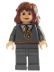 Minifig No: hp054  Name: Hermione Granger, Gryffindor Stripe Torso w/ Necklace, Dark Bluish Gray Legs