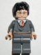 Minifig No: hp056  Name: Harry Potter, Gryffindor Stripe Torso, Dark Bluish Gray Legs