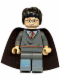 Minifig No: hp056a  Name: Harry Potter, Gryffindor Stripe Torso, Dark Bluish Gray Legs, Plain Black Cape