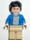 Minifig No: hp059  Name: Harry Potter, Blue Open Shirt Torso, Tan Legs, Light Nougat Hands & Head
