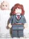Minifig No: hp065  Name: Hermione Granger, Gryffindor Stripe Torso, Dark Bluish Gray Legs, Sleeping / Awake Face